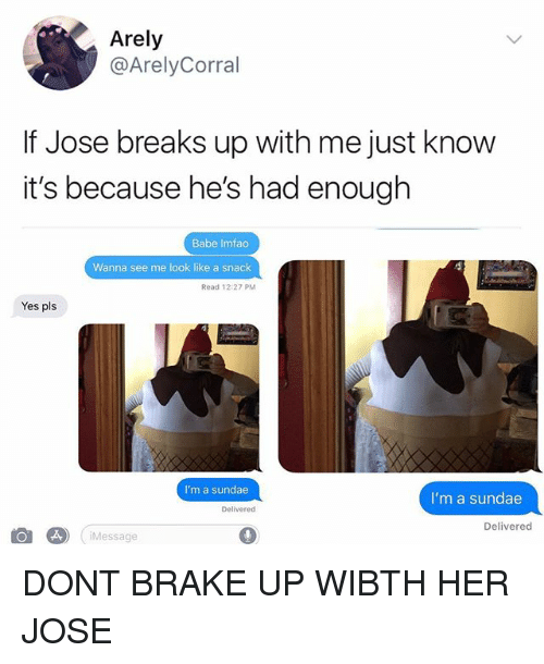 Memes, 🤖, and Her: Arely  @ArelyCorral  If Jose breaks up with me just know  it's because he's had enough  Babe Imfao  Wanna see me look like a snack  Read 12:27 PM  Yes pls  I'm a sundae  I'm a sundae  Delivered  Delivered  ㈜ . Message DONT BRAKE UP WIBTH HER JOSE