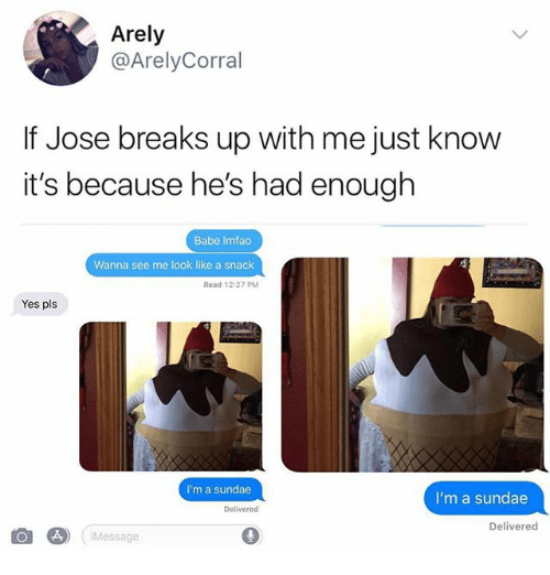 Ironic, Yes, and Pls: Arely  @ArelyCorral  If Jose breaks up with me just know  it's because he's had enough  Babe Imfao  Wanna see me look like a snack  Read 12:27 PM  Yes pls  I'm a sundae  I'm a sundae  Delivered  Delivered  Message