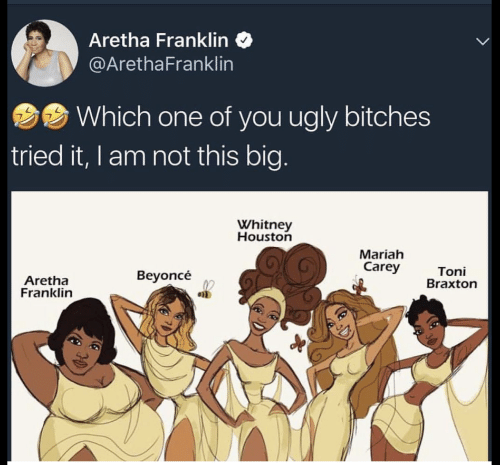 toni braxton: Aretha Franklin  @ArethaFranklin  Which one of you ugly bitches  tried it, I am not this big  Whitney  Houston  Mariah  Carey  Aretha  Franklin  Beyoncé  Toni  Braxton  en
