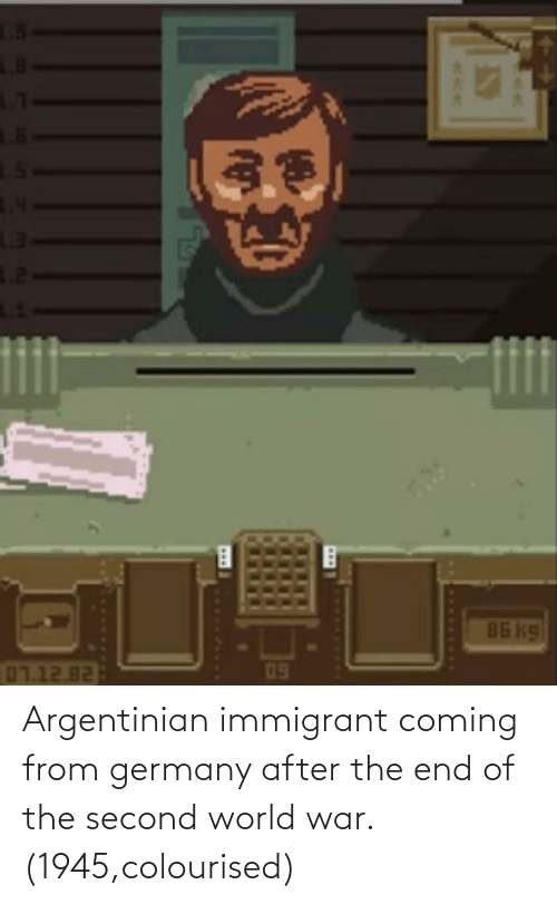world war: Argentinian immigrant coming from germany after the end of the second world war. (1945,colourised)