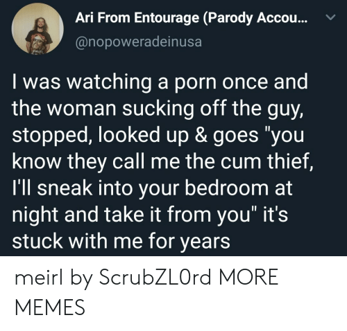 """Parody: Ari From Entourage (Parody Accou...  @nopoweradeinusa  Iwas watching a porn once and  the woman sucking off the guy,  stopped, looked up & goes """"you  know they call me the cum thief,  I'll sneak into your bedroom at  night and take it from you"""" it's  stuck with me for years meirl by ScrubZL0rd MORE MEMES"""