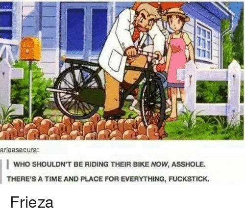 Assholl: ariaasacura:  WHO SHOULDN'T BE RIDING THEIR BIKE NOW, ASSHOLE.  THERE'S A TIME AND PLACE FOR EVERYTHING, FUCKSTICK. Frieza