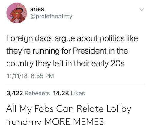 For President: aries  @proletariatitty  Foreign dads argue about politics like  they're running for President in the  country they left in their early 20s  11/11/18, 8:55 PM  3,422 Retweets 14.2K Likes All My Fobs Can Relate Lol by irundmv MORE MEMES