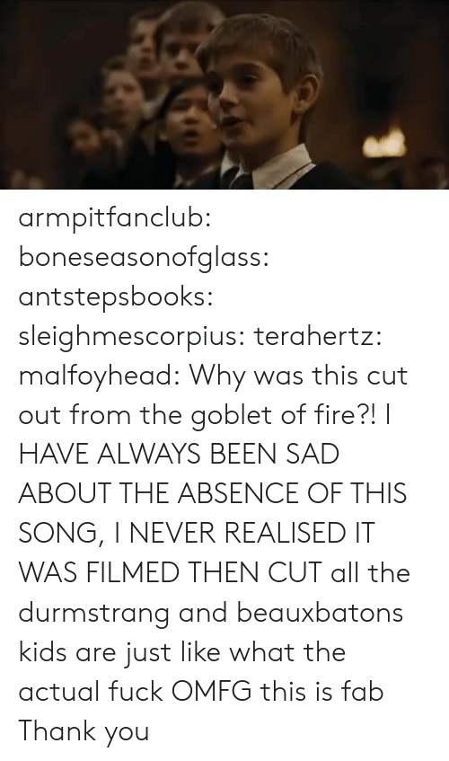 fab: armpitfanclub:   boneseasonofglass:  antstepsbooks:  sleighmescorpius:  terahertz:  malfoyhead:  Why was this cut out from the goblet of fire?!  I HAVE ALWAYS BEEN SAD ABOUT THE ABSENCE OF THIS SONG, I NEVER REALISED IT WAS FILMED THEN CUT  all the durmstrang and beauxbatons kids are just like what the actual fuck  OMFG  this is fab  Thank you