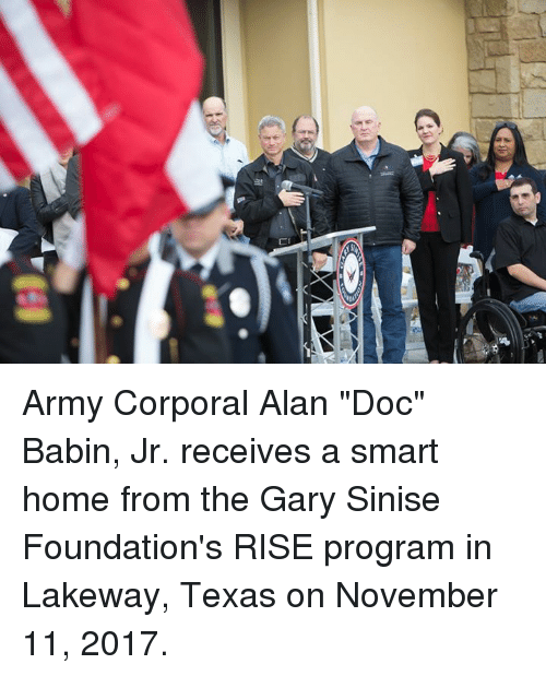 army corporal alan doc babin jr receives a smart home from the gary sinise foundation 39 s rise. Black Bedroom Furniture Sets. Home Design Ideas
