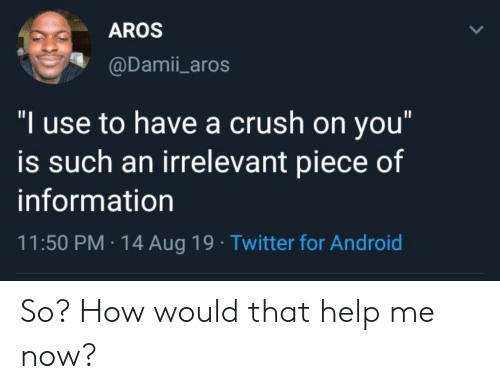 """A Crush: AROS  @Damii_aros  """"I use to have a crush on you""""  is such an irrelevant piece of  information  11:50 PM 14 Aug 19 Twitter for Android So? How would that help me now?"""