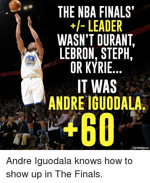 iguodala: ARR  THE NBA FINALS'  LEADER  WASN'T DURANT  LEBRON, STEPH,  OR KYRIE  IT WAS  ANDRE IGUODALA  acBs Sports Andre Iguodala knows how to show up in The Finals.