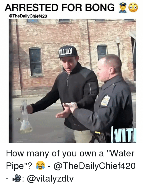 """water pipe: ARRESTED FOR BONG  @The DailyChief420  IVIT How many of you own a """"Water Pipe""""? 😂 - @TheDailyChief420 - 🎥: @vitalyzdtv"""