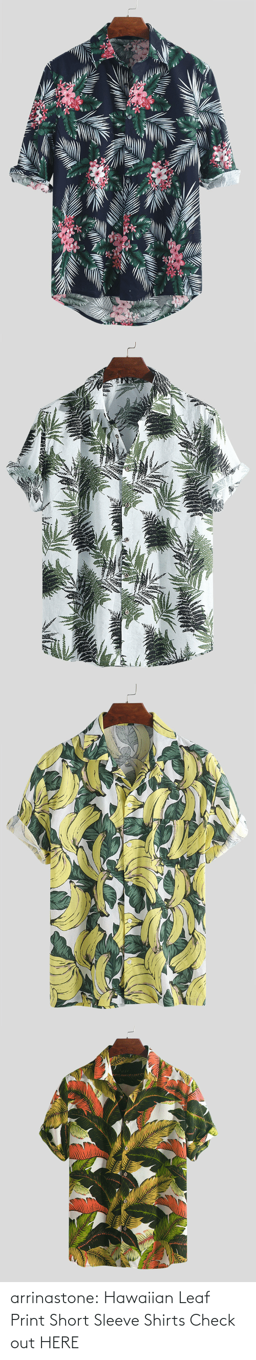 bit.ly: arrinastone:  Hawaiian Leaf Print Short Sleeve Shirts Check out HERE