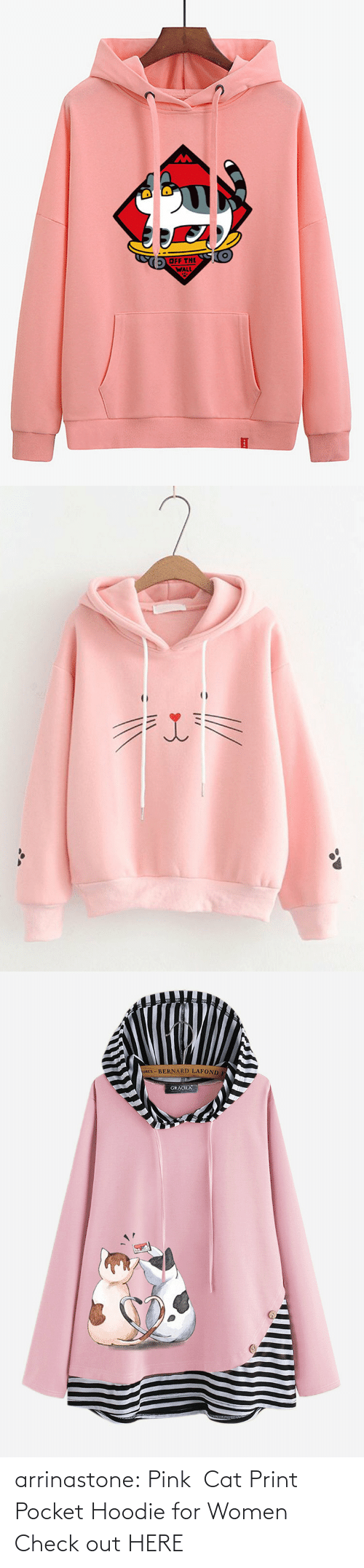 bit.ly: arrinastone: Pink  Cat Print Pocket Hoodie for Women Check out HERE