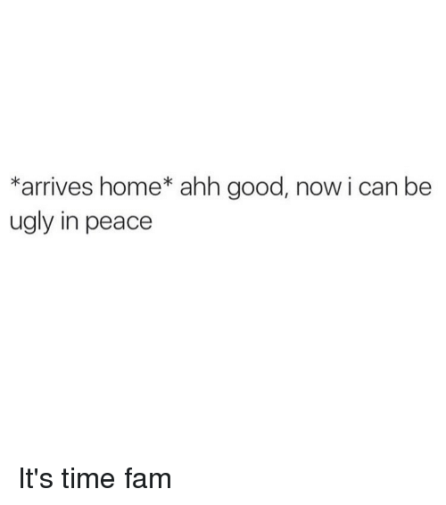 Fam, Memes, and Ugly: *arrives home* ahh good, now i can be  ugly in peace It's time fam