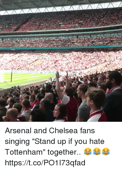 """Arsenal, Chelsea, and Singing: Arsenal and Chelsea fans singing """"Stand up if you hate Tottenham"""" together.. 😂😂😂 https://t.co/PO1I73qfad"""