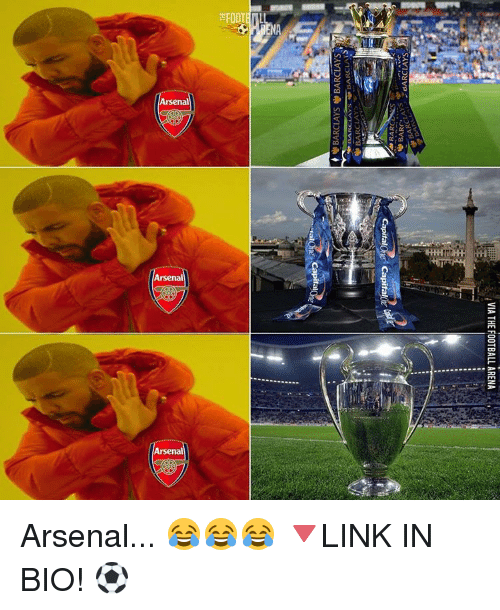 Capitalization: Arsenal  Arsenal  Arsenal  VIA THE FOOTBALL ARENA  PH  CapitalOne< Capital  1758 Vg  gae  alone Arsenal... 😂😂😂 🔻LINK IN BIO! ⚽️