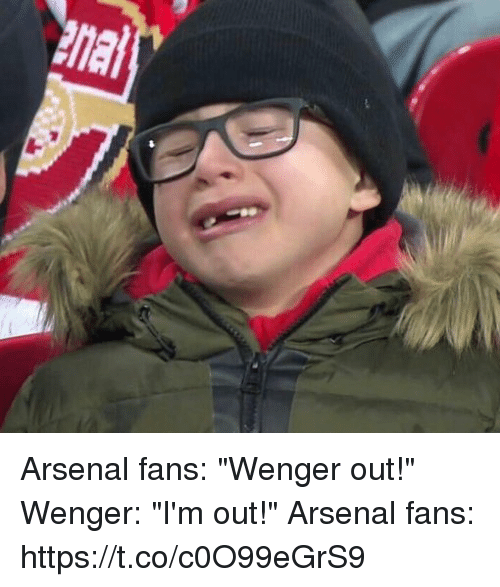 "Arsenal, Soccer, and Wenger: Arsenal fans: ""Wenger out!""  Wenger: ""I'm out!""  Arsenal fans: https://t.co/c0O99eGrS9"