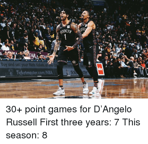 Nets: ARTA  Buy and sell your Nets tickets af the O  @ Ticketmaster.com/NBA 30+ point games for D'Angelo Russell  First three years: 7 This season: 8