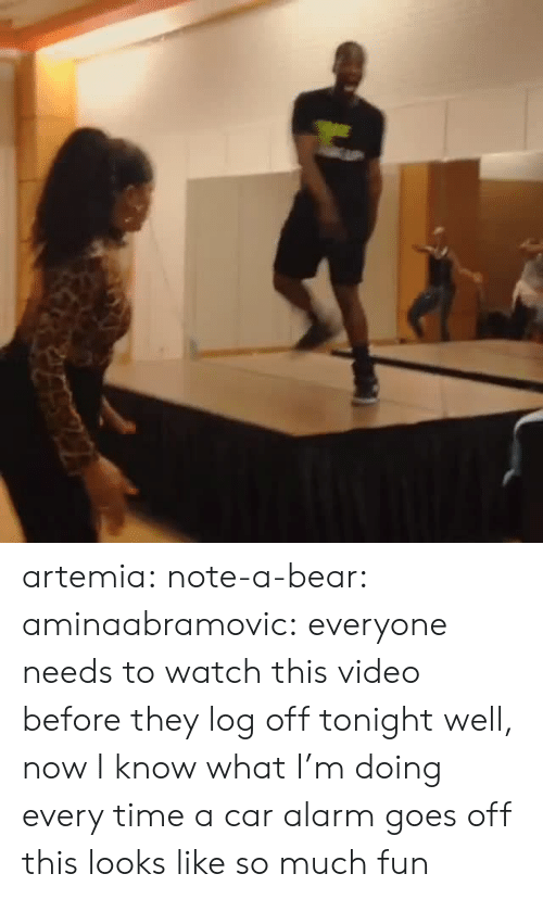 car alarm: artemia:  note-a-bear:  aminaabramovic:  everyone needs to watch this video before they log off tonight  well, now I know what I'm doing every time a car alarm goes off  this looks like so much fun