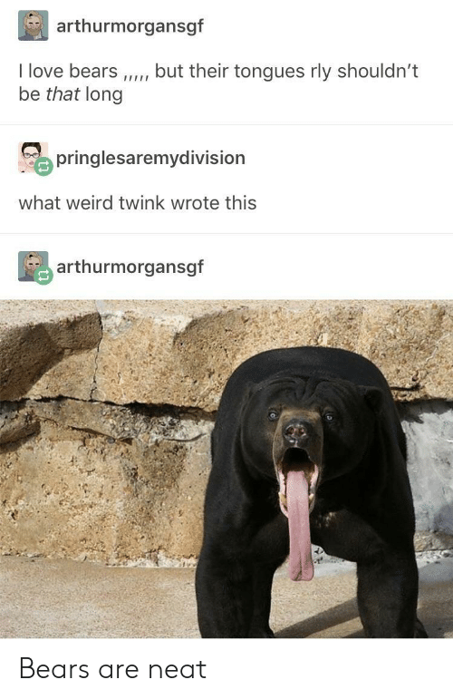 tongues: arthurmorgansgf  I love bears,but their tongues rly shouldn't  be that long  o pringlesaremydivision  what weird twink wrote this  arthurmorgansgf Bears are neat