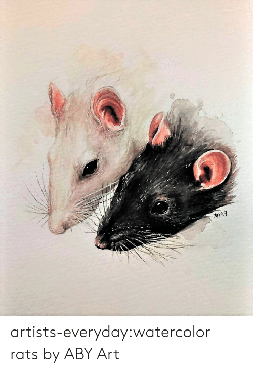 aby: artists-everyday:watercolor rats by ABY Art