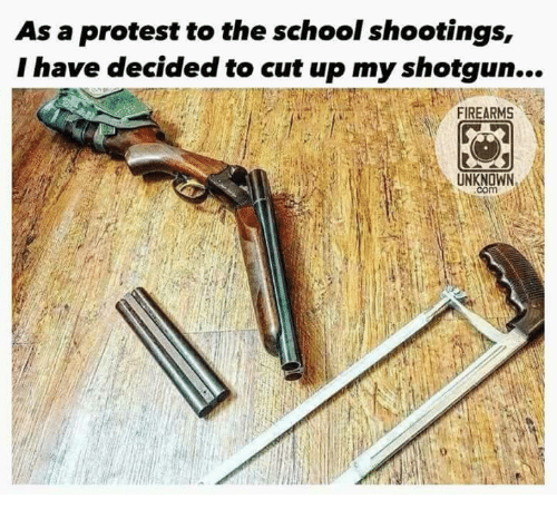 Memes, Protest, and School: As a protest to the school shootings,  I have decided to cut up my shotgun...  FIREARMS  UNKNOWN  com