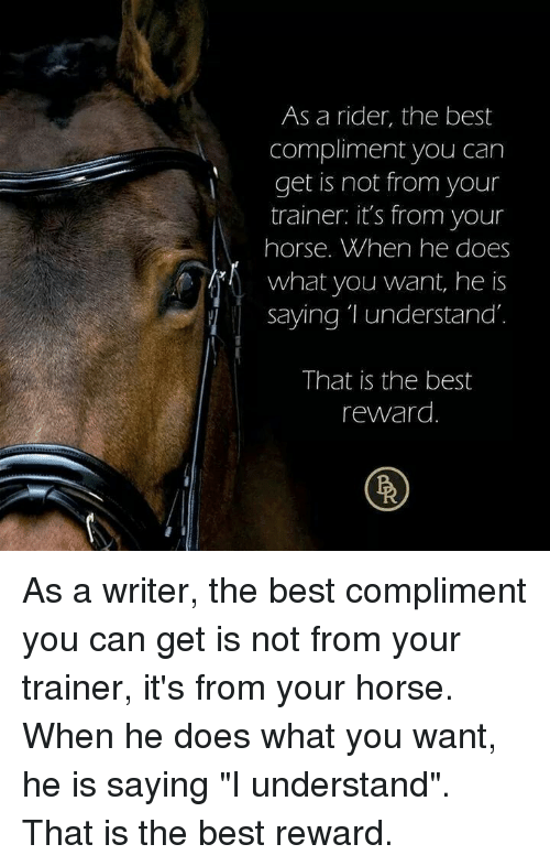 """Best, Horse, and Can: As a rider, the best  compliment you carn  get is not from your  trainer: it's from your  horse. When he does  what you want, he is  Saying T understand  That is the best  reward As a writer, the best compliment you can get is not from your trainer, it's from your horse. When he does what you want, he is saying """"I understand"""". That is the best reward."""