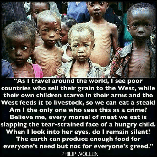 "Memes, Greed, and Am I the Only One: ""As I travel around the world, I see poor  countries who sell their grain to the west, while  their own children starve in their arms and the  West feeds it to livestock, so we can eat a steak!  Am I the only one who sees this as a crime?  Believe me, every morsel of meat we eat is  slapping the tear-strained face of a hungry child.  when I look into her eyes, do I remain silent?  The earth can produce enough food for  everyone's need but not for everyone's greed.""  PHILIP WOLLEN"
