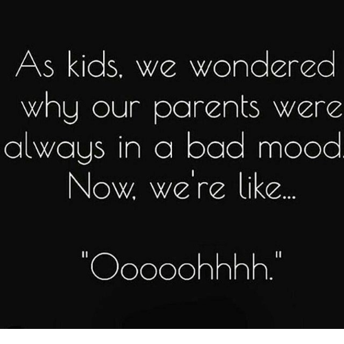 Bad, Memes, and Mood: As kids, we wondered  why our parents were  always in a bad mood  Now We're like  Ooooohhhh