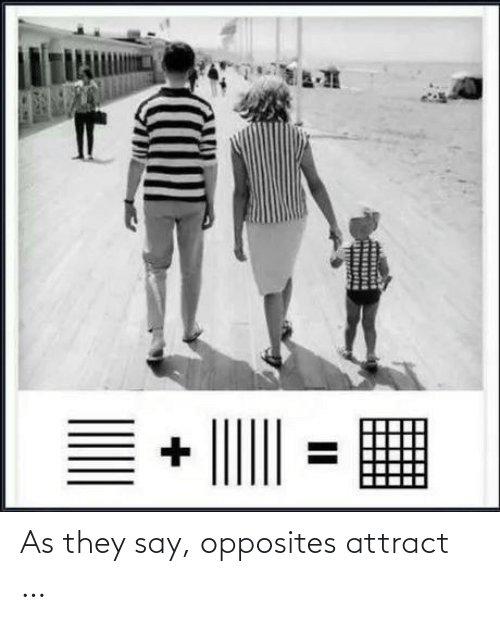 opposites: As they say, opposites attract …