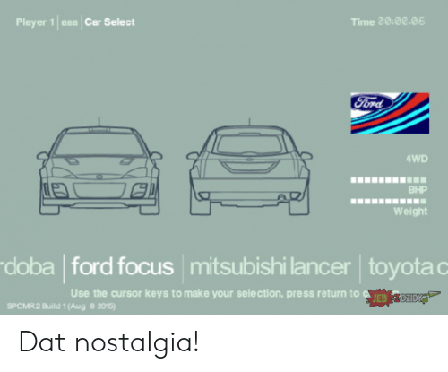 Toyota: asa Car Select  Time 20:00.06  Player 1  Ford  4WD  BHP  Weight  doba ford focus mitsubishi lancer toyota c  Use the cursor keys to make your selection, press return to EB  DZIDYJ  SPCMR2 Build 1 (Aug 8 2015) Dat nostalgia!