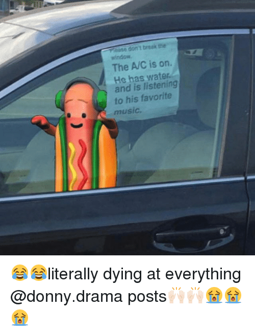 Ased: ase don't break the  window  The A/C is on.  He has wat  and is listening  to his favorite  music 😂😂literally dying at everything @donny.drama posts🙌🏻🙌🏻😭😭😭