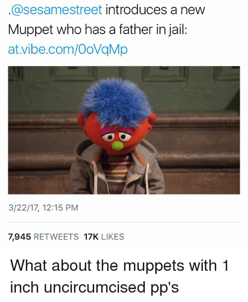 Memes, 🤖, and Muppet: asesamestreet introduces a new  Muppet who has a father in jail  at Vibe.com/OovqMp  3/22/17, 12:15 PM  7,945  RETWEETS 17K  LIKES What about the muppets with 1 inch uncircumcised pp's