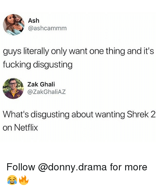 Ash, Fucking, and Memes: Ash  @ashcammm  guys literally only want one thing and it's  fucking disgusting  Zak Ghali  @ZakGhaliAZ  What's disgusting about wanting Shrek 2  on Netflix Follow @donny.drama for more 😂🔥