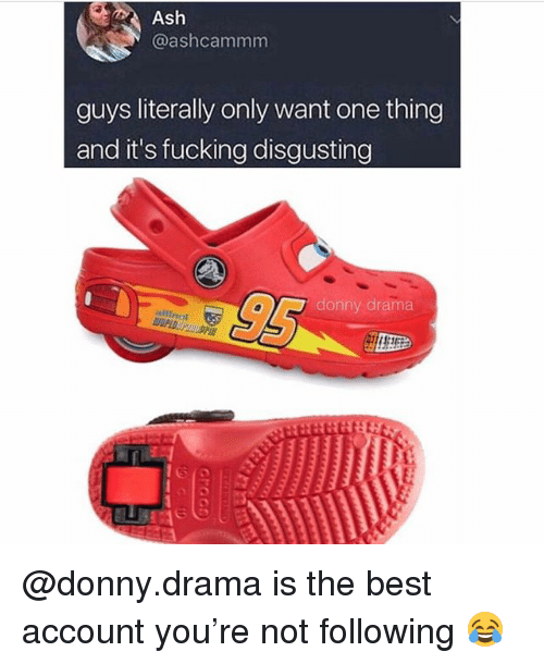 Ash, Fucking, and Best: Ash  @ashcammm  guys literally only want one thing  and it's fucking disgusting  donny drama @donny.drama is the best account you're not following 😂