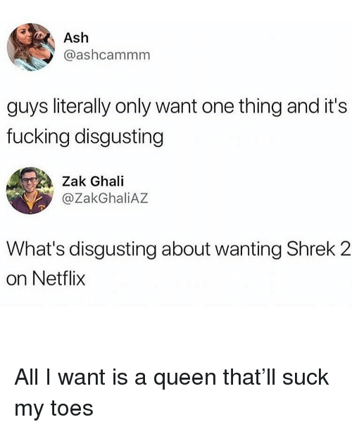 Ash, Fucking, and Funny: Ash  @ashcammm  guys literally only want one thing and it's  fucking disgusting  Zak Ghali  @ZakGhaliAZ  What's disgusting about wanting Shrek 2  on Netflix All I want is a queen that'll suck my toes
