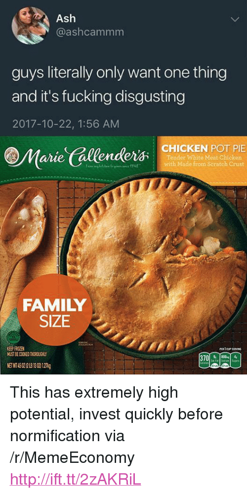 """anie: @ashcammm  guys literally only want one thing  and it's fucking disgusting  2017-10-22, 1:56 AM  @Marle'(allender尔SMICKEN 있.RIE  anie  Tender White Meat Chicker  with Made from Seratch Crust  FAMILY  SIZE  KEEP FROZEN  MUST BE COOKED THOROUEHIL <p>This has extremely high potential, invest quickly before normification via /r/MemeEconomy <a href=""""http://ift.tt/2zAKRiL"""">http://ift.tt/2zAKRiL</a></p>"""