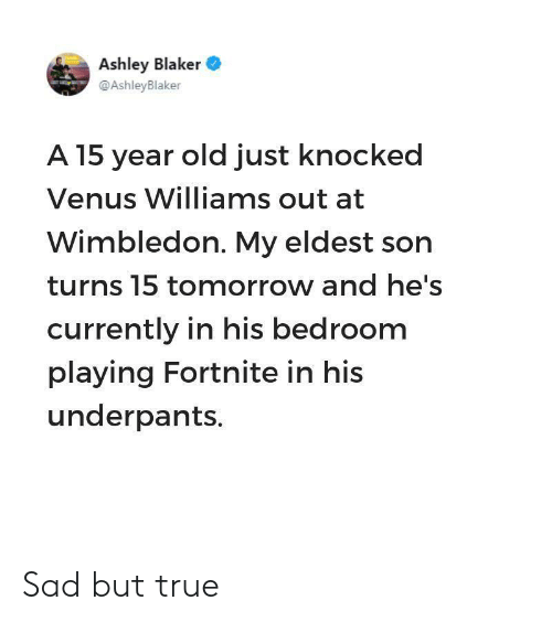 Sad But True: Ashley Blaker  @AshleyBlaker  A 15 year old just knocked  Venus Williams out at  Wimbledon. My eldest son  turns 15 tomorrow and he's  currently in his bedroom  playing Fortnite in his  underpants. Sad but true