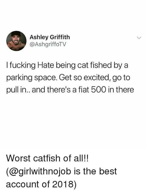 Fiat: Ashley Griffith  @AshgriffoTV  I fucking Hate being cat fished by a  parking space. Get so excited, go to  pull in.. and there's a fiat 500 in there Worst catfish of all!! (@girlwithnojob is the best account of 2018)