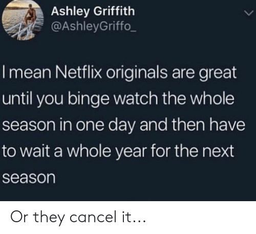 originals: Ashley Griffith  @AshleyGriffo  I mean Netflix originals are great  until you binge watch the whole  season in one day and then have  to wait a whole year for the next  season Or they cancel it...