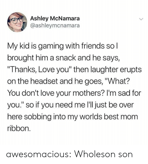 "sobbing: Ashley McNamara  @ashleymcnamara  My kid is gaming with friends sol  brought him a snack and he says,  ""Thanks, Love you"" then laughter erupts  on the headset and he goes, ""What?  You don't love your mothers? I'm sad for  you."" so if you need me 'll just be over  here sobbing into my worlds best mom  ribbon. awesomacious:  Wholeson son"