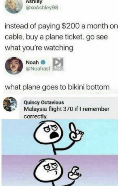 Bikini Bottom: Ashley  @xoAshley98  instead of paying $200 a month on  cable, buy a plane ticket. go see  what you're watching  Noah o DM  @Noahasf DANS  what plane goes to bikini bottom  Quincy Octavious  Malaysia flight 370 if I remember  correctly.
