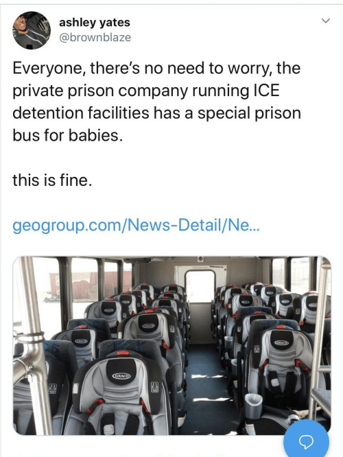 Prison: ashley yates  @brownblaze  Everyone, there's no need to worry, the  private prison company running ICE  detention facilities has a special prison  bus for babies.  this is fine.  geogroup.com/News-Detail/Ne...  GRACO  CGRACO  GRACO  GRACO