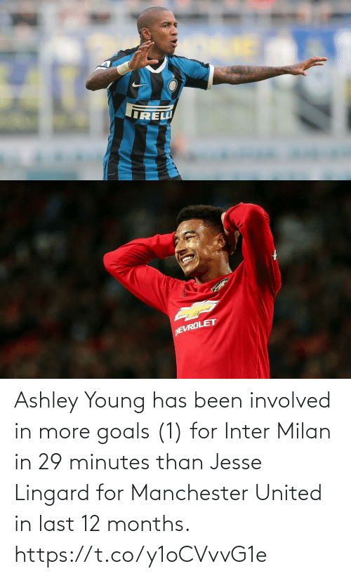 Manchester United: Ashley Young has been involved in more goals (1) for Inter Milan in 29 minutes than Jesse Lingard for Manchester United in last 12 months. https://t.co/y1oCVvvG1e