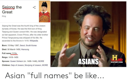 "Asian: Asian ""full names"" be like..."