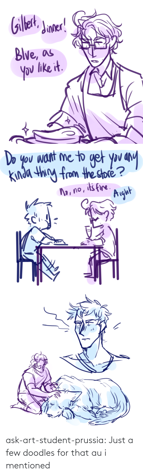 student: ask-art-student-prussia:  Just a few doodles for that au i mentioned