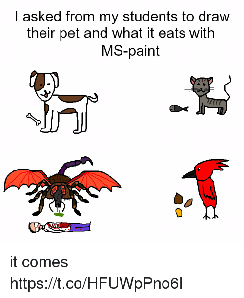 ms paint: | asked from my students to draw  their pet and what it eats with  MS-paint it comes https://t.co/HFUWpPno6l