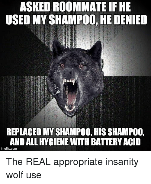 Roommate, The Real, and Wolf: ASKED ROOMMATE IFHE  USED MY SHAMPOO, HE DENIED  REPLACED MY SHAMPOO, HIS SHAMPOO,  AND ALL HYGIENE WITH BATTERY ACID  imgflip.com The REAL appropriate insanity wolf use