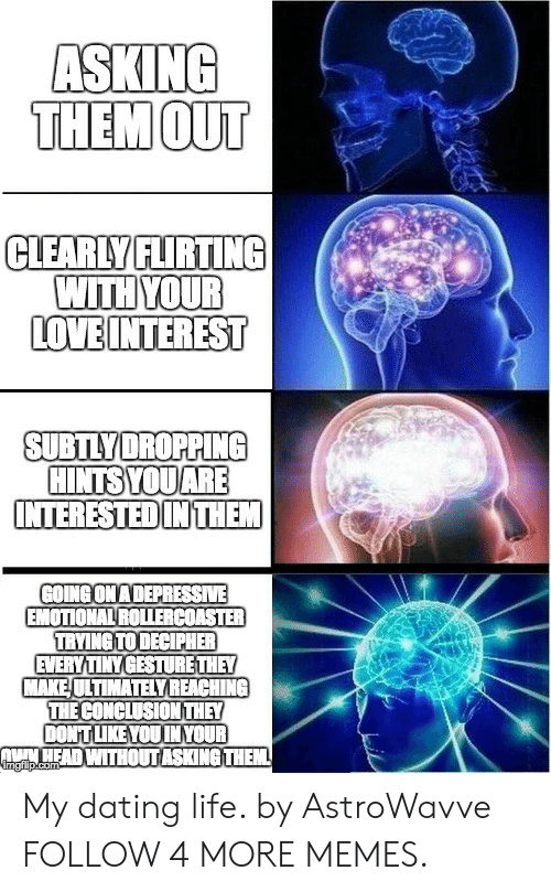 Depressive: ASKING  THEMOUT  CLEARLY FLIRTING  WITH YOUR  LOVE INTEREST  SUBTLYDROPPING  HINTSYOUARE  INTERESTED IN THEM  GOING ON A DEPRESSIVE  EMOTIONAL ROLLERCOASTER  TRYING TO DECIPHER  EVERY TINY GESTURE THEY  MAKE ULTIMATELY REACHING  THE CONCLUSION THEY  DONT LIKE YOU IN YOUR  NHEAD WITHOUT ASKING THEM  imgfilp.com My dating life. by AstroWavve FOLLOW 4 MORE MEMES.