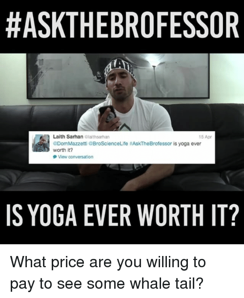 Memes, Yoga, and 🤖:  #ASKTHEBROFESSOR  Laith Sarhan  alalthsarhan  15 Apr  GDomMazzetti QBroScienceLife MAskTheBrofessor is yoga ever  worth it?  View conversation  IS YOGA EVER WORTH IT? What price are you willing to pay to see some whale tail?