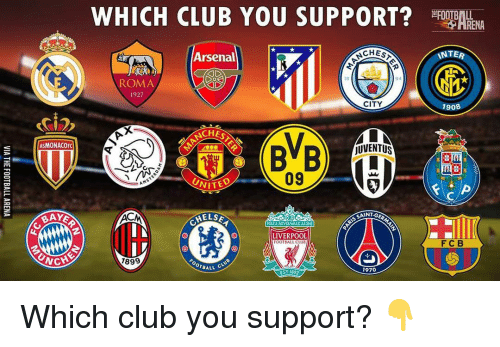 Acms: ASMONACOFC  BAKE  NCHC  WHICH CLUB YOU SUPPORT?  Arsenal  ROMA  1927  CITY  CHES  jUVENTUS  09  UNITED  AMS  SAINT-G  ACM  HELSE  YOULL NEVER WALKALONE  IN  LIVERPOOL  OOTBALL CLUB  1899  OTBALL  1970  EST 1892  RENA  INTE  1908 Which club you support? 👇