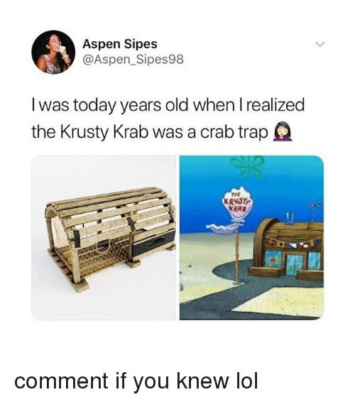 Aspen: Aspen Sipes  @Aspen_Sipes98  I was today years old when I realized  the Krusty Krab was a crab trap  TME  KR4S  KRAB comment if you knew lol
