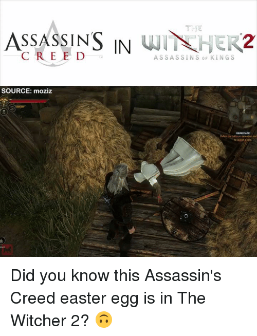 assassin creed: ASSASSINS IN  WIT HER2  ASSASSINS SOURCE: moziz  BARRICADE  Ddeat the ballistaydelenders and Did you know this Assassin's Creed easter egg is in The Witcher 2? 🙃